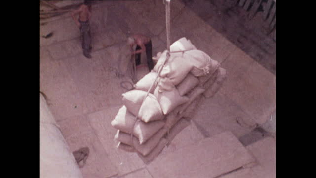 sacks being unloaded from a cargo hold in rostock port; 1970 - ship stock videos & royalty-free footage
