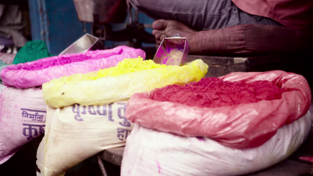 sacks of paint pigment, india. - alternative energy stock videos & royalty-free footage