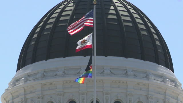 KTXL Sacramento CA US LGBTQ Pride flag flies over State Capitol for first time ever on Monday June 17 2019