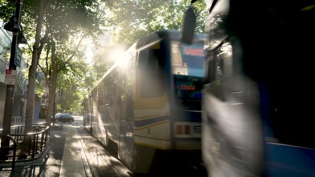 sacramento rt light rail train passing by in downtown sacramento, california - downtown stock videos & royalty-free footage