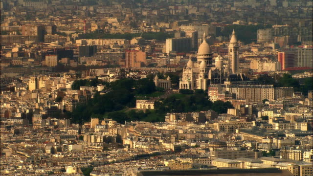 aerial sacre coeur and montmartre cityscape/ paris, france - basilique du sacre coeur montmartre stock videos and b-roll footage