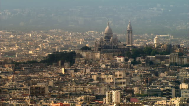 aerial sacre coeur and montmartre cityscape/ paris, france - basilique du sacre coeur montmartre stock videos & royalty-free footage