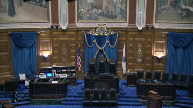 sacred cod hanging in the house of representatives chamber in the massachusetts state house - senate stock videos & royalty-free footage