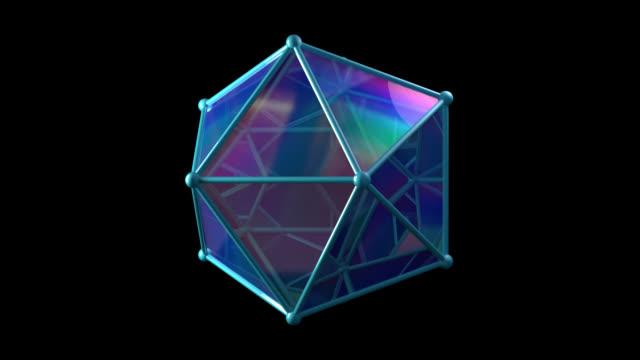 vídeos de stock e filmes b-roll de sacred geometry 1001: a geometric platonic icosahedron object rotates - proporção áurea