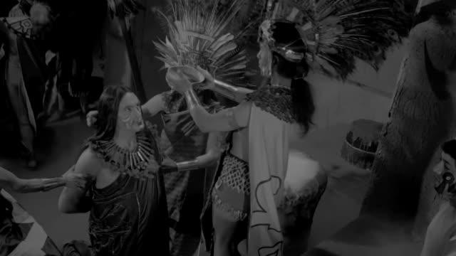sacrifice performed during aztec ritual. reenactment. - reenactment stock videos & royalty-free footage