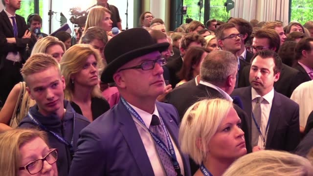 sad atmosphere at the headquarters of the christian social union after german chancellor angela merkel's arch conservative allies scored 35 percent a... - bavaria stock videos & royalty-free footage
