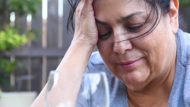 sad overweight mature woman - depression sadness stock videos & royalty-free footage