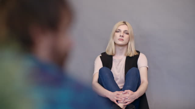 sad transgender person posing for photo shoot - chest hair stock videos and b-roll footage