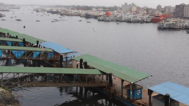 sadarghat launch terminal in dhaka / operations at river ports and passenger terminals for waterways across bangladesh have been disrupted after... - port said stock videos & royalty-free footage
