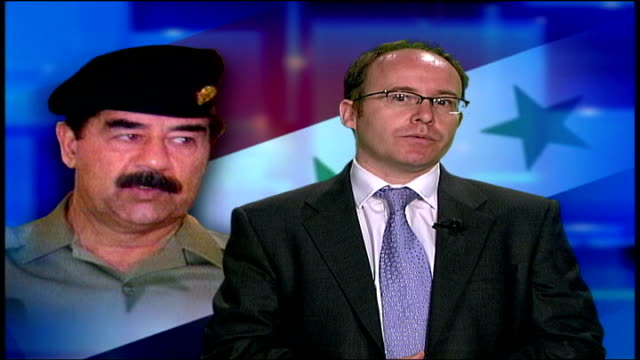 saddam hussein arrives in court; itn studio: int richard hermer interview sot - it's essential for the victims, the people from the country where the... - other stock videos & royalty-free footage