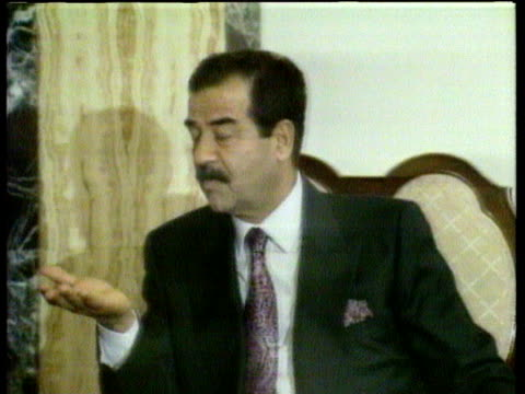 saddam hussein being interviewed; 1990 - saddam hussein stock videos & royalty-free footage
