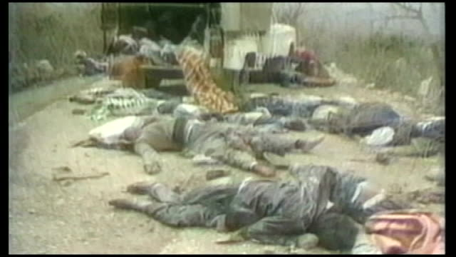 saddam hussein execution imminent tx dead bodies lying in road by truck ofter halabja chemical weapons attack - execution stock videos & royalty-free footage
