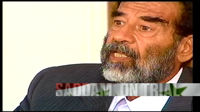 saddam hussein in court on genocide charges day 1 pool baghdad saddam hussein speaking defiantly in court during his first appearance on genocide... - saddam hussein stock videos and b-roll footage
