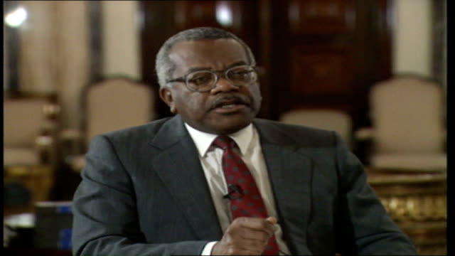 Baghdad INT Trevor McDonald seated with then Iraqi President Saddam Hussein for Hussein's first interview since the Iraqi invastion of Kuwait which...