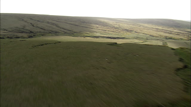saddleworth moor  - aerial view - england,  oldham,  saddleworth helicopter filming,  aerial video,  cineflex,  establishing shot,  united kingdom - bog stock videos & royalty-free footage
