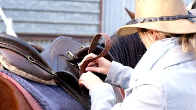 saddling up my horse for the ride - saddle stock videos & royalty-free footage