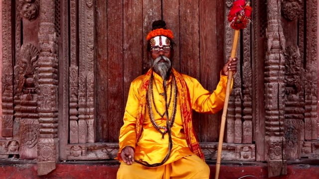 sadhu durbar square - indigenous culture stock videos & royalty-free footage