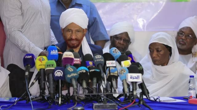 sadiq almahdi a former prime minister and head of the opposition national umma party that has backed the protests holds a press conference in... - international criminal court stock videos and b-roll footage
