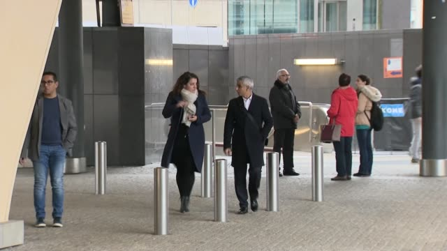 sadiq khan arriving at the european commission belgium brussels european commission ext sadiq khan arriving for talks with michel barnier - europäische kommission stock-videos und b-roll-filmmaterial