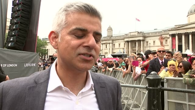 sadiq khan attends eid festival celebration in trafalgar square; sadiq khan interview sot - [on fasting during ramadan] it is tough, it was great as... - david dimbleby stock videos & royalty-free footage