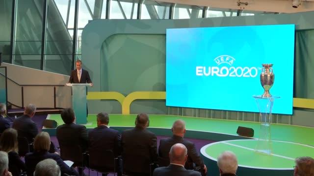 Sadiq Khan attends UEFA event Alexsander Ceferin speech SOT Various speeches SOT