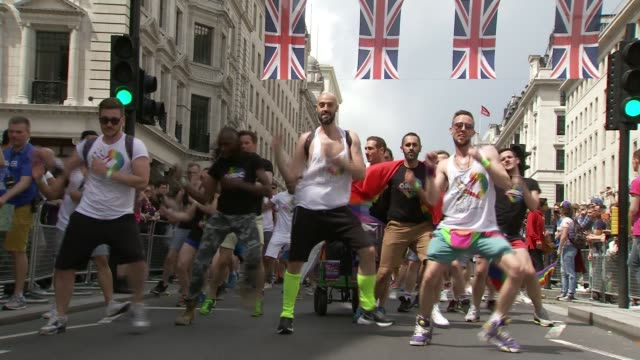 sadiq khan blames increase in race hate crimes on referendum result r25061622 / 2562016 london ext gay pride march with men dancing along street... - sadiq khan stock videos and b-roll footage