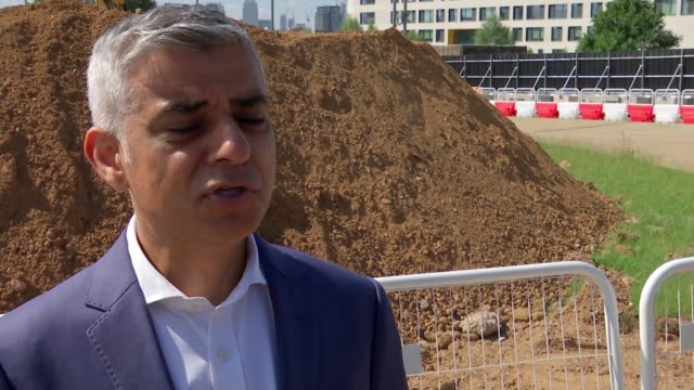 Sadiq Khan buries time capsule to mark construction of new centre for culture in East London ENGLAND London EXT Sadiq Khan MP interview SOT Well I...