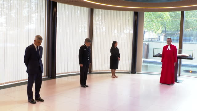 sadiq khan, cressida dick and priti patel observing a one-minute silence for sergeant matiu ratana, who was shot dead in a custody centre in croydon - sergeant stock videos & royalty-free footage