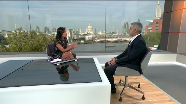 sadiq khan elected as labour's candidate for london mayor / prospects for jeremy corbyn england london int sadiq khan studio interview sot humbled... - nina hossain video stock e b–roll