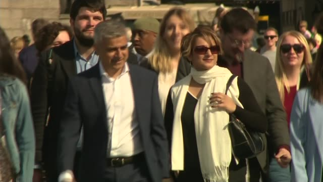 sadiq khan elected mayor of london / speculation over labour divisions 652016 ext sadiq khan and wife saadiya towards with supporters - sadiq khan stock videos and b-roll footage