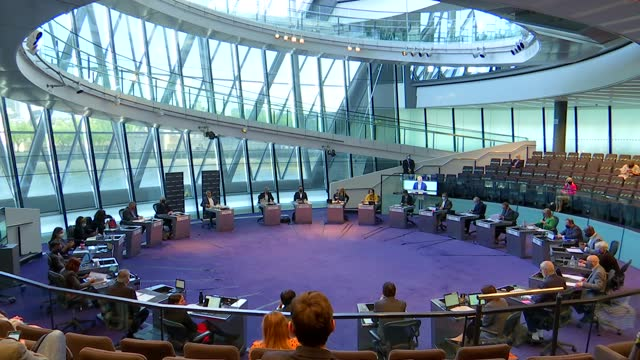 sadiq khan faces first mayor's questions at city hall since re-election; england: london: city hall: london assembly: int various of london assembly... - shaun bailey london assembly member stock videos & royalty-free footage