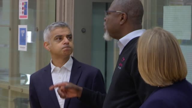 sadiq khan launches antiknife crime initiative bermondsey int various of sadiq khan visiting the salmon youth centre and chatting with people / khan... - sadiq khan stock videos and b-roll footage