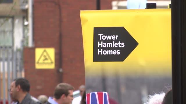 sadiq khan launches london housing strategy various shots of new housing estate near robin hood gardens / sadiq khan and others along sadiq khan... - grounds stock videos & royalty-free footage