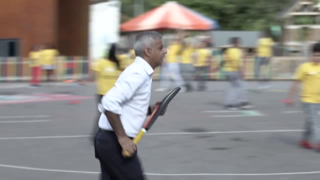 sadiq khan plays cricket with school children in north london as he launches a fund into youth sport the mayor of london has announced a £26million... - sadiq khan stock videos & royalty-free footage