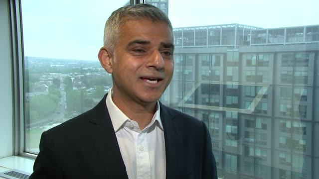 sadiq khan pledges funding to start work on 10000 new council homes int sadiq khan interview sot over the last seven years only twothousand council... - years stock videos and b-roll footage