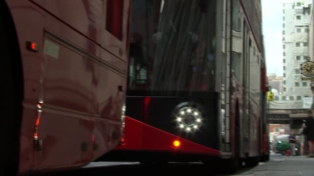 sadiq khan rides electric double decker bus england london ext london red buses along / sadiq khan gareth powell and shirley rodrigues arriving and... - electricity stock videos & royalty-free footage