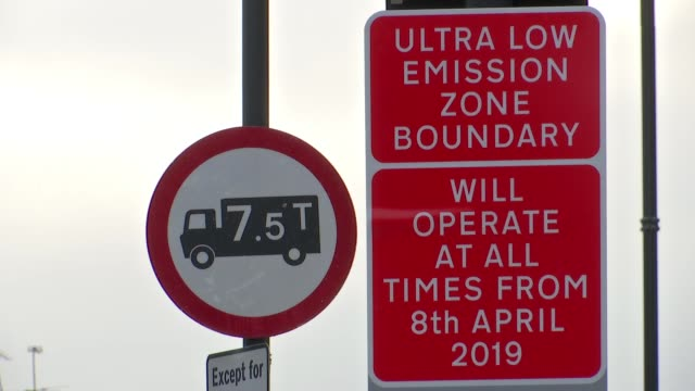 Sadiq Khan says new Ultra Low Emission Zone charge a price worth paying ENGLAND London EXT 'Congestion Charging C' sign TILT DOWN 'Ultra Low Emission...
