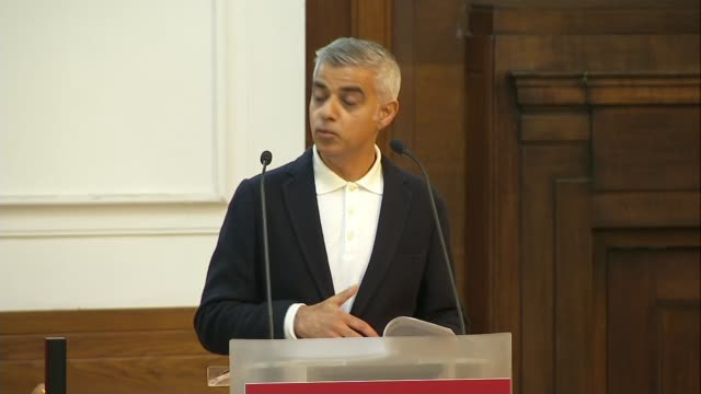 sadiq khan speech interupted by protrump protesters england london euston friends house fabian society conference int sadiq khan speech sot we're... - sadiq khan stock videos & royalty-free footage