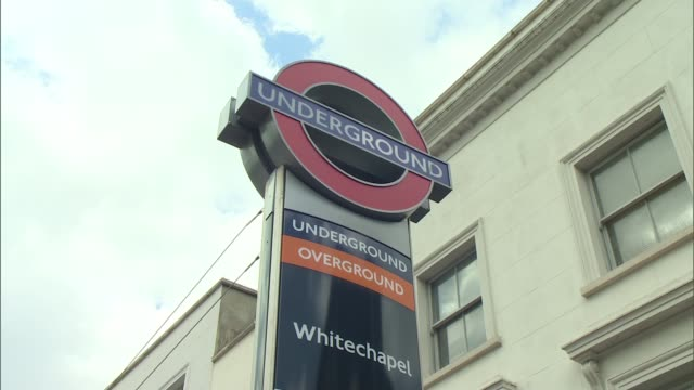 sadiq khan to ban junk food advertisements from buses, trains and stations; whitechapel: ext reporter to camera whitechapel underground station sign... - jamie oliver stock videos & royalty-free footage