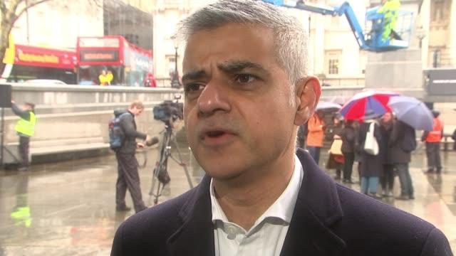 Sadiq Khan to press ahead with new tolls for diesel vehicles in London ENGLAND London Trafalgar Square EXT Sadiq Khan interview SOT I think the...