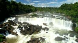 Sae Pra Lai waterfall in Laos. Aerial view