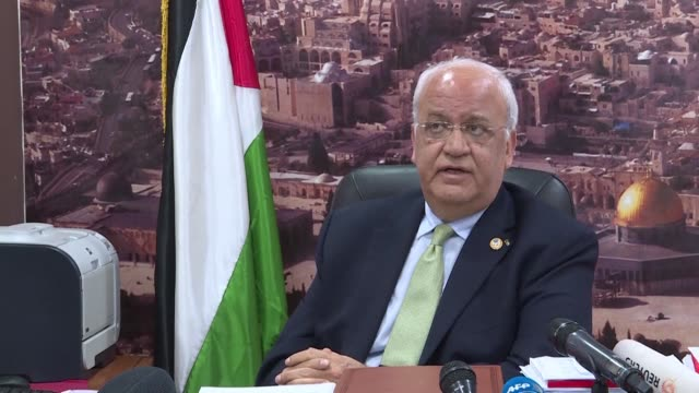 saeb erekat a senior palestinian official condemns the participation of us envoys which included us ambassador to israel david friedman and white... - palestine liberation organisation stock videos & royalty-free footage