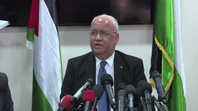 saeb erekat secretary general of the palestine liberation organisation holds a press conference in the west bank city of ramallah condemning a new... - palestine liberation organisation stock videos & royalty-free footage