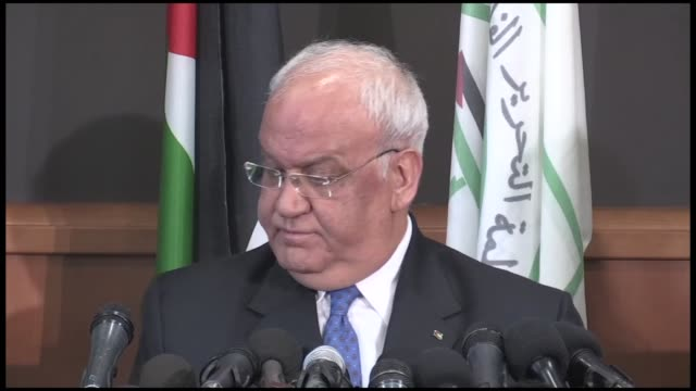 saeb erekat secretarygeneral of the palestine liberation organization on tuesday pledged to continue procedures with the international criminal court... - palestine liberation organisation stock videos & royalty-free footage
