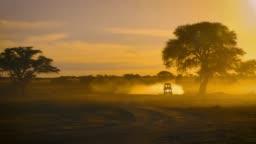 Safari Car is driving on Sand road