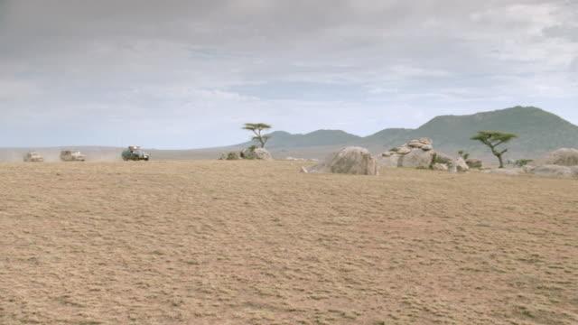 safari trucks travel past boulders and acacia trees on an african savanna. - acacia tree stock videos & royalty-free footage