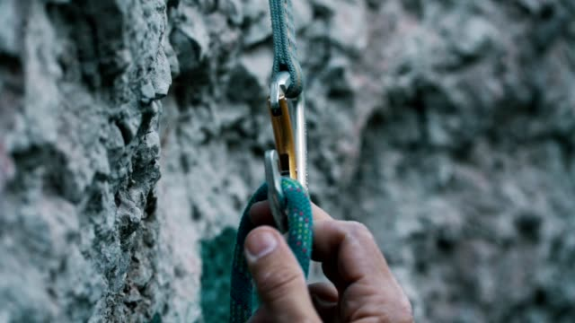 safeness for rock climbing - climbing rope stock videos & royalty-free footage
