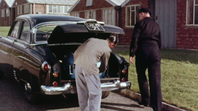 1957 MONTAGE Safety measures being used to secure fissile material during transport and when around oil / United Kingdom