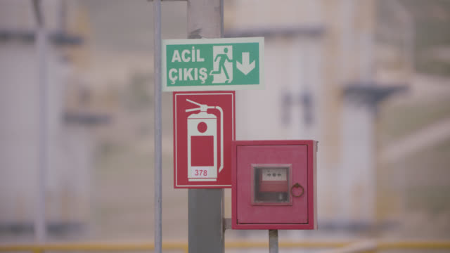 safety signs - danger, warning and caution labels - emergency exit - safety equipment stock videos & royalty-free footage