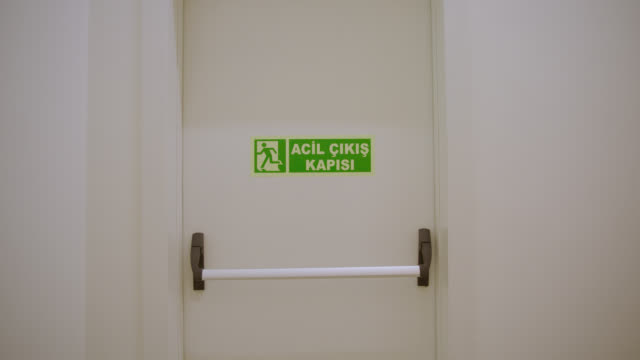 safety signs - danger, warning and caution labels - emergency exit - building entrance stock videos & royalty-free footage